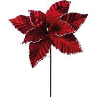 Flor Decorativa Com Glitter- Vermelha & Prateada- 20Cromus
