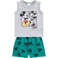 Conjunto De Regata + Bermuda Mickey Mouseâ®- Cinza & Verdbrandili