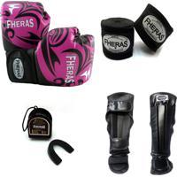 Kit Fheras Muay Thai Top - Luva Bandagem Caneleira Bucal - 14 Oz Tribal Rosa