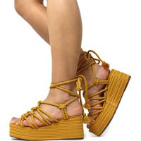 Sandália De Corda Trançada Damannu Shoes Brooke Mostarda