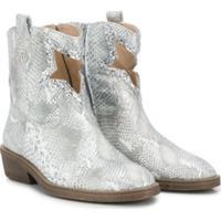 Florens Snakeskin Print Ankle Boots - Prateado