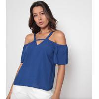 Blusa Com Ombros Vazados- Azul- Arsenalarsenal