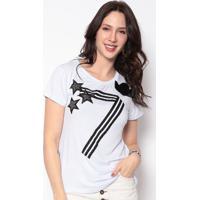 Blusa Estrelas Com Bordado- Branca & Preta- Cavalaricavalari