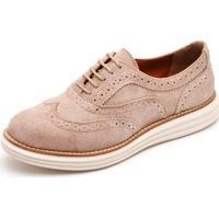 Sapato Oxford Q&A 300 Couro Camurça Areia