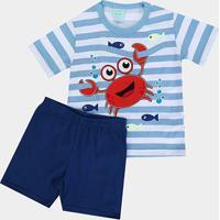 Pijama Infantil Kyly Caranguejo Fluorescente Masculino - Masculino-Azul
