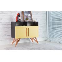 Balcão Para Sala Tipo Buffet Retrô/Moderno Preto 2 Portas Amarelas Com Nicho Freddie - 90X35X79 Cm