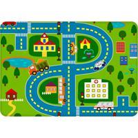 Tapete De Atividades Infantil Cidade 125X90Cm Verde