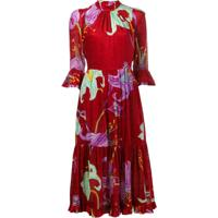 La Doublej Vestido Midi De Veludo - Vermelho