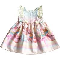 Vestido Bebê Estampado Da Tóing Com Barrado Fundo Rosa