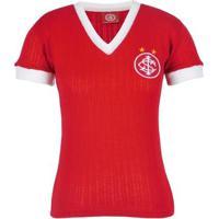 Camisa Internacional Retrô Canelada Feminina N°7 - Feminino-Vermelho