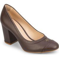 Sapato Tradicional Com Microfuros - Marrom Escuro- Scapodarte