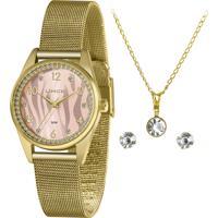 Relógio Lince Feminino Dourado + Semijóia:(Corrente, Pingente E Par De Brincos) - Lrgj137L-Kz47R2Kx