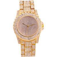 Relógio De Luxo Feminino Strass Bee Sister - Gold