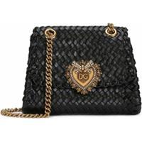 Dolce & Gabbana Bolsa Transversal Devotion Com Padronagem Trançada - Preto
