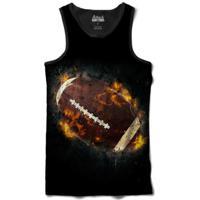 Camiseta Attack Life Regata Futebol Americano Em Chamas Sublimada Masculina - Masculino-Preto