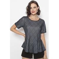 Blusa Geométrica Com Babados- Cinza & Azul- Cotton Ccotton Colors Extra