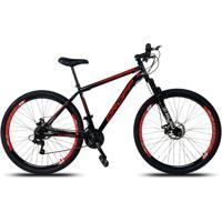 Bicicleta Aro 29 Freio A Disco Mecânico Quadro 19 Suspensão 21 Marchas Aço Preto Vermelho - Dropp