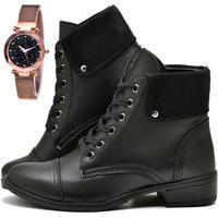 Bota Coturno Cano Curto Fashion Com Relógio Gold Dubuy 601El Preto