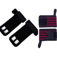 Kit Crossfit Munhequeiras Profissional (Par) + Luva Hand Grip Couro (Par) - Unissex