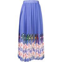 Ultràchic Pleated Printed Skirt - Roxo
