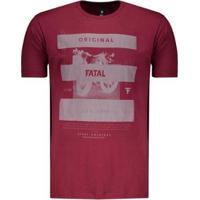 Camiseta Fatal First Original Estampada Masculina - Masculino-Bordô