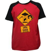 Camiseta Alkary Raglan Manga Curta Abduzido Vermelha E Preta