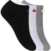 Kit De Meias Invisível Nike Everyday Cushioned No Show Com 3 Pares - Infantil - Branco/Cinza
