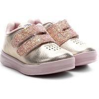 Tênis Infantil Ortopé Velcro Glitter - Feminino-Dourado