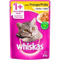 Ração Para Gatos Whiskas Adulto 1+ Anos Sachê Sabor Frango Ao Molho 85G
