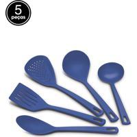 Conjunto 5Pçs Utensilios Tramontina Nylon Utilita Azul