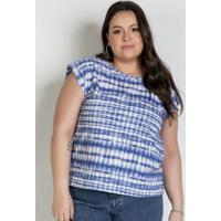 Blusa Tie Dye Azul Muscle Tee Plus Size