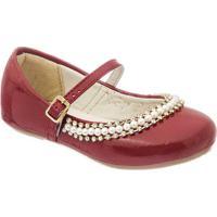 Sapato Boneca Com Strass - Vermelho Escuro- Luluzinluluzinha