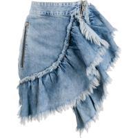 Diesel Saia Jeans Com Babados - Azul