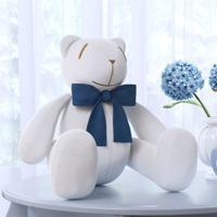 Urso Branco Laço Azul Marinho 35Cm Grão De Gente Azul