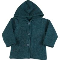 Casaco Infantil Soft Tweed Folhas - Feminino-Verde