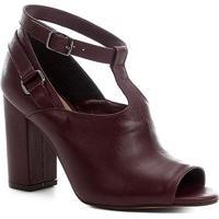 Sandália Couro Shoestock Sandal Boot Feminina - Feminino-Bordô