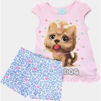 Pijama Infantil Kyly Brilha No Escuro Cute Dog Feminino - Feminino-Rosa