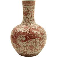 Vaso Decorativo De Porcelana Yuchun Oriental Vermelho E Branco