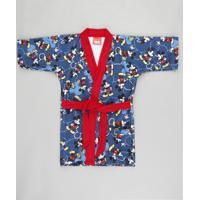 Roupão Infantil Mickey Estampado Atoalhado Azul Marinho