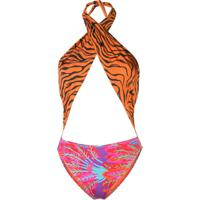 Reina Olga Italian Stallion Print-Mix Swimsuit - Laranja