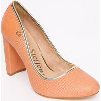 Sapato Tradicional Em Couro Com Tag- Salmã£O & Dourado