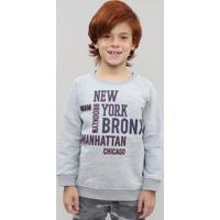 """Blusão Infantil Em Moletom Com Estampa """"New York"""" Cinza Mescla"""
