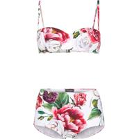 Dolce & Gabbana Conjunto De Biquíni Com Estampa 'Peony' - Branco