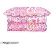 Conjunto De Colcha Evolution Patchwork King Size- Pink &Camesa