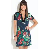 Vestido Quintess Clássico Floral Marinho