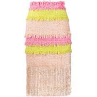 Msgm Saia De Tweed Color Block Com Franja - Rosa