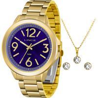 Kit Relógio Lince Feminino Com Colar E Brincos Lrgh089Lkv53D2Kx
