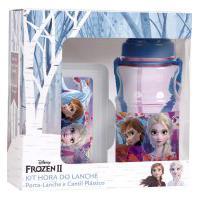 Kit Hora Do Lanche Disney Frozen Porta-Lanche + Cantil Azul