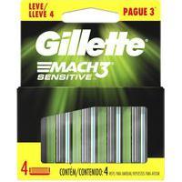 Carga Para Aparelho De Barbear Gillette Mach3 Sensitive Com 4 Unidades 4 Unidades