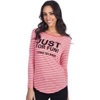 Blusa Long Island Fun - Feminino-Coral